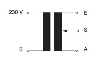 Jednofázové oddělovací regulační transformátory podle VDE 0551 - nakres