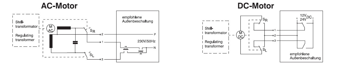 Regulační autotransformátory s motorickým pohonem nakres